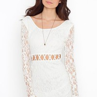 Lattice Lace Dress - Ivory in  Clothes Dresses Body-Con at Nasty Gal
