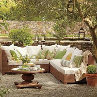 Palmetto All-Weather Wicker Sectional - Honey | Pottery Barn