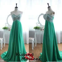Stunning hot sale A-line Long prom dresses, Green Chiffon Backless A-line Beading Prom dresses, Discount New Formal Evening dresses, 9147
