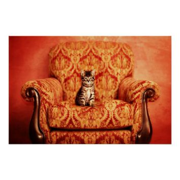 Cute Kitten Sitting on A Big Chair Poster