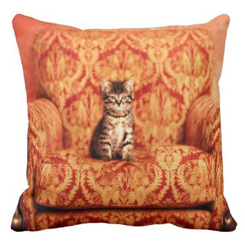 Cute Kitten Sitting on A Big Chair - Kitty Cat Grade A Cotton Throw Pillow