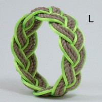 Tan Sailor Knot Bracelet with Lime Satin Outline Large | MysticKnotwork - Jewelry on ArtFire