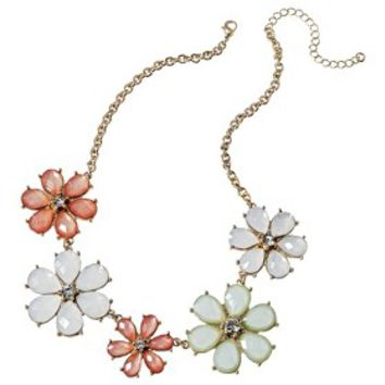 Women's Colored Flower Necklace - Gold/Multicolor