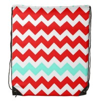 Chevron, Aqua, Red & White Drawstring Backpack
