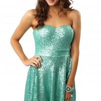 Mint Sequin Flare Dress