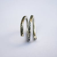 Hammered Silver Ring Oxidized Wire Ring Snake Spiral One by mehru