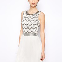 Frock and Frill Pleated Skater Dress with Scallop Embellishment