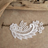 White lace floral design bracelet | StitchesFromTheHeart - Wedding on ArtFire