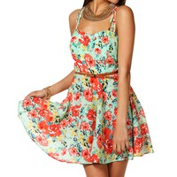 Mint Criss Cross Floral Short Dress