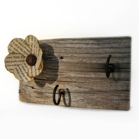 Rustic Barn Wood Upcycled Key Rack Jewelry Kitchen by tanjasova