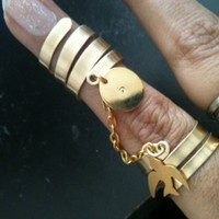 I Belong To You – double chain rings. Skinny Bands Silver gold copper slave Style Ring with Chains charms