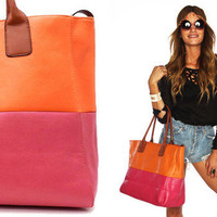 Orange Color Block Tote