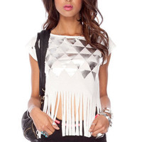 Geo Foiled Fringe T-Shirt in White :: tobi