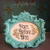 MADE TO ORDER- Hoes Before Bros - Finished and framed cross stitch -