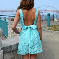 Carrendale Mint Crochet Mini Dress
