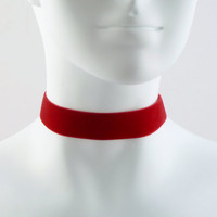 Ruby Red Velvet Choker Necklace Simple Plain Basic  by Arthlin