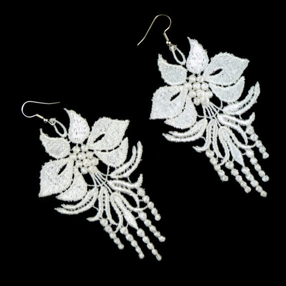 White Lace Chandelier Earrings  Romantic Floral Fabric by Arthlin