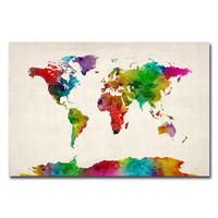 Trademark Art Watercolor World Map II Canvas Wall Art