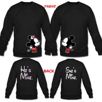 Mickey and Minnie Kissing plus He's mine She's mine Matching Couples Sweaters inspired from Disney Personalize for a perfect gift