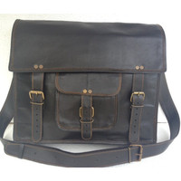 Black Leather retro look laptop / messenger / Macbook / office/ college satchel /shoulder bag