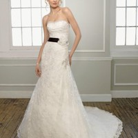 Satin Lace Strapless A-Line Wedding Dress - Basadress.com