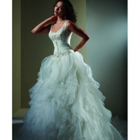 Organza Scoop A-line Chapel Train Wedding Dress - Basadress.com