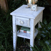 Night Stand White Nights Reclaimed Wood by natureinspiredcrafts