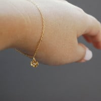 Kapua&#x27;ilima bracelet a tiny gold plated flower by kealohajewelry