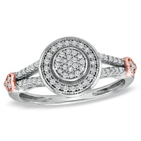 1/5 CT. T.W. Diamond Circle Cluster and Side Hearts Ring in Sterling Silver and 10K Rose Gold - Size 7 - View All Rings - Zales