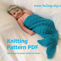 Mermaid Cocoon Knitting Pattern Charming Newborn Photo by 4aSong