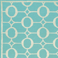 outdoor arabesque rug (aqua) | thos. baker