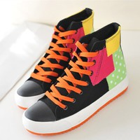 Stitching Lace Up High Top Sneaker 022624