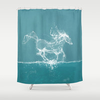 The Water Horse Shower Curtain by Paula Belle Flores