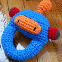 Blue Robot Baby Rattle Made To Order