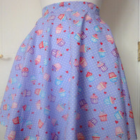 Pin-Up Rock & Roll Rockabilly Full Circle Cupcake Print Skirt