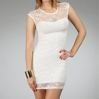 Ivory Floral Lace Mini Dress