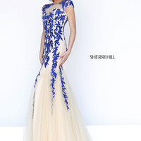 Sherri Hill 1927 - Nude/Royal Illusion Short Sleeve Prom Dresses Online