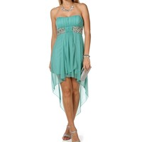Aqua Jeweled Waist Hi-Lo Dress