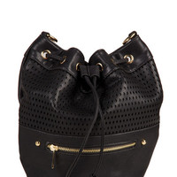 Diamond Leather Shoulder Bag - Black