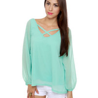 Cute Mint Blue Top - Chiffon Top - Long Sleeve Top - $37.00