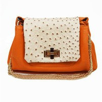 Orange Ostrich and Croc Bag - Ostrich Bags- Cute Shoulder Bags- $49