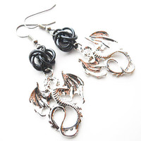 Black dragon earrings, Gothic jewelry, Chainmaille, Black dragon jewelry, Fantasy jewelry