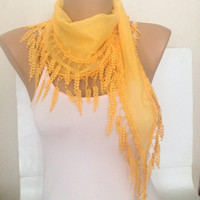 Yellow Lace Scarf - Scarf Accessories for Women - Bridesmaids Scarves Sheer Cotton Leaf Lace Scarf