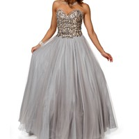 Juliana-Silver Long Prom Dress