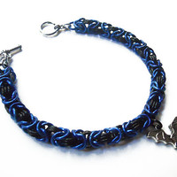 Gothic bat bracelet, Chainmaille Byzantine weave, Halloween jewelry, Blue, black, and silver
