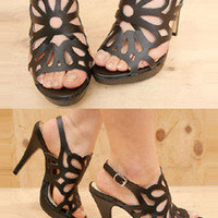 AsiaJam.com Fashion Boutique | Cut Out Floral Sling Back Stilettos