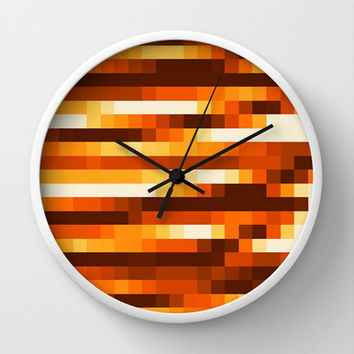 Pixels In Orange Wall Clock by Jensen Merrell Designs