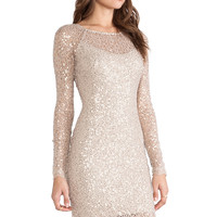 Halston Heritage Long Sleeve Sequin Dress in Gold from REVOLVEclothing.com