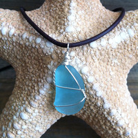 RARE Aqua Sea glass Necklace - Sea Glass pendant - Aqua Beach Glass Necklace, Blue Sea Glass Necklace, Turquoise Sea Glass