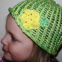spring hat green and yellow with flower by mylittlebows on Etsy
